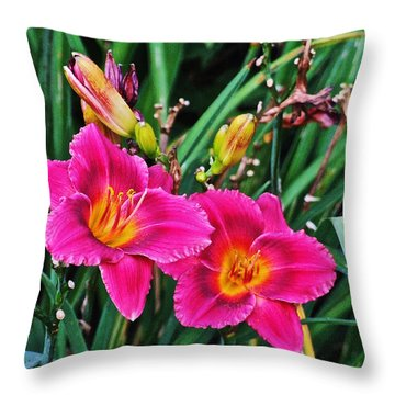 Glorious Daylilies Throw Pillow by Janis Nussbaum Senungetuk