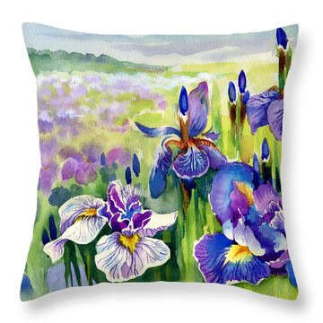 Throw Pillow featuring the painting Glorious Hand Of God by Karen Showell