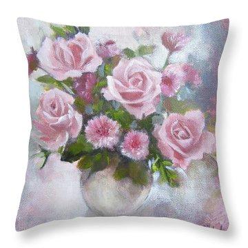 Glorious Roses Throw Pillow
