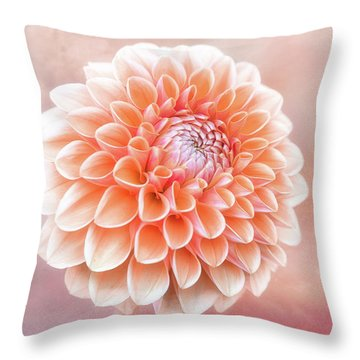 Glorious Salmon Dahlia Throw Pillow
