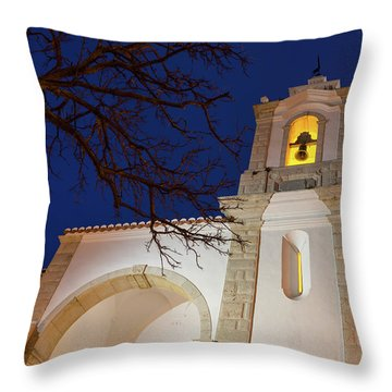 Gloriously Lit Blue Hour - Igreja De Santo Antonio In Lagos Portugal Throw Pillow