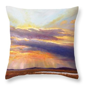 Throw Pillow featuring the painting Glory Lights by Rod Seel