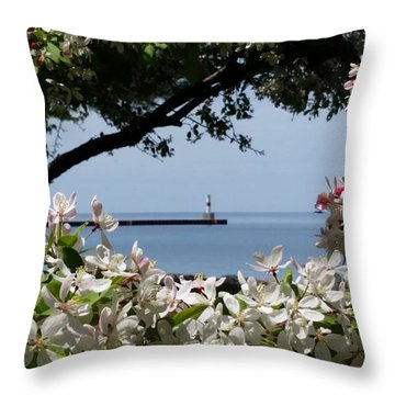 Glory Of Spring At The Waterfront Throw Pillow by Wendy Shoults