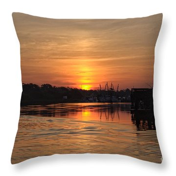 Glory Of The Morning On The Water Throw Pillow
