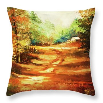 Glory Road In Autumn Throw Pillow by Al Brown