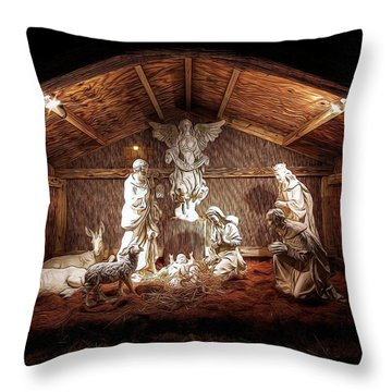 Glory To The Newborn King Throw Pillow