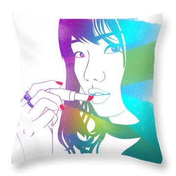 Glossy Girl Throw Pillow