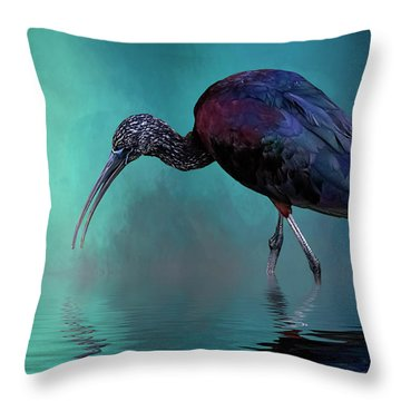 Glossy Ibis Looking For Breakfast Throw Pillow by Cyndy Doty
