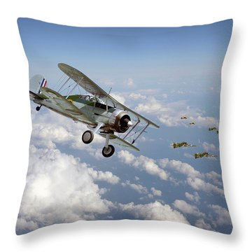 Throw Pillow featuring the digital art  Gloster Gladiator - Malta Defiant by Pat Speirs
