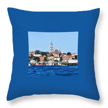 Gloucester City Hall From Inner Harbor Throw Pillow