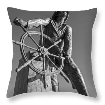 Gloucester Fisherman's Memorial Statue Black And White Throw Pillow
