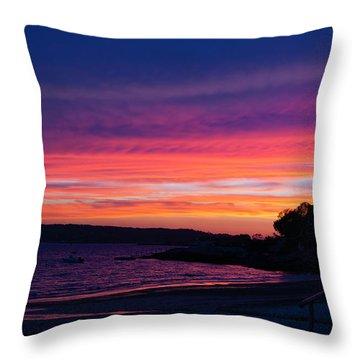 Gloucester Harbor Beach Throw Pillow