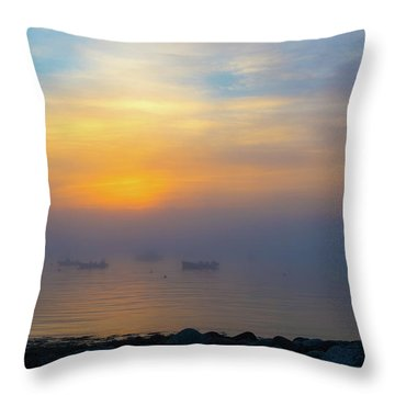 Gloucester Harbor Foggy Sunset Throw Pillow