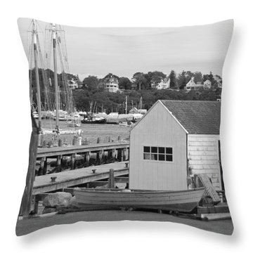 Gloucester Harbor Scene In Black And White Throw Pillow