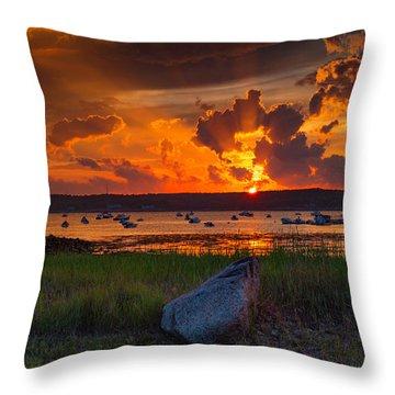 Gloucester Harbor Sunset Throw Pillow