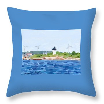 Gloucester Ma Skyline From Harbor Throw Pillow