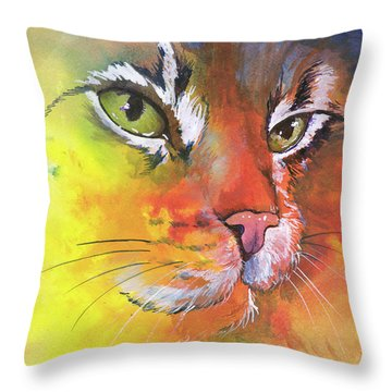 Glow Cat Throw Pillow