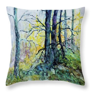 Throw Pillow featuring the painting Glow From The Tamarack by Joanne Smoley