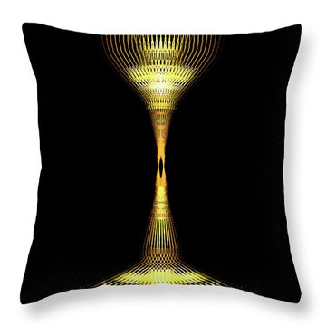 Glowing Brass Lamp Stand Throw Pillow