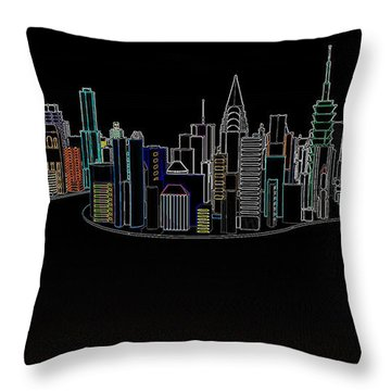 Glowing City Throw Pillow