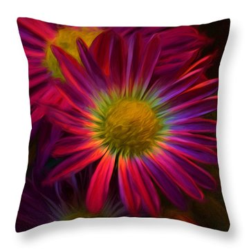 Glowing Eye Of Flower Throw Pillow by Lilia D