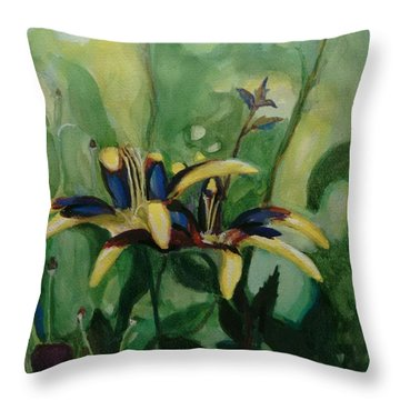 Glowing Flora Throw Pillow