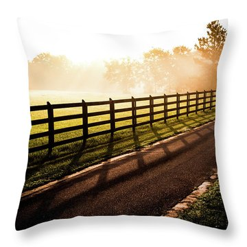 Throw Pillow featuring the photograph Glowing Fog At Sunrise by Shelby Young