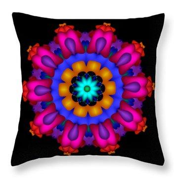 Glowing Fractal Flower Throw Pillow