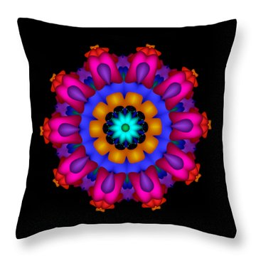 Glowing Fractal Flower Throw Pillow