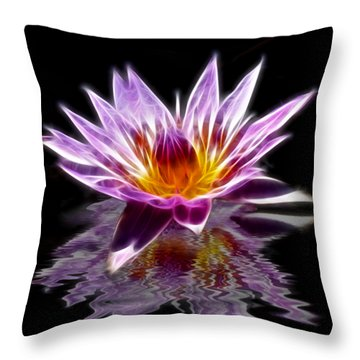 Glowing Lilly Flower Throw Pillow