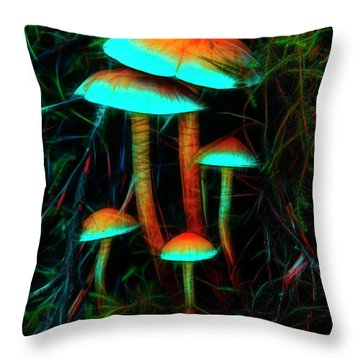 Glowing Mushrooms Throw Pillow