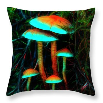 Throw Pillow featuring the photograph Glowing Mushrooms by Yulia Kazansky