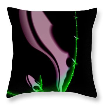 Glowing Night Flower Fractal Art Throw Pillow