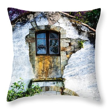 Glowing Old Window In Portugal Throw Pillow