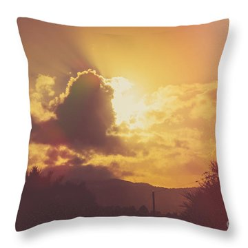 Glowing Orange Hilltop View Of An Afternoon Sunset Throw Pillow