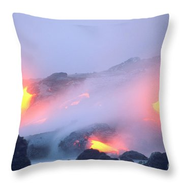 Glowing Orange Lava Throw Pillow by Mary Van de Ven - Printscapes