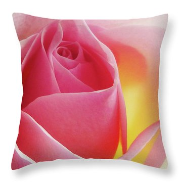 Glowing Pink Rose Throw Pillow