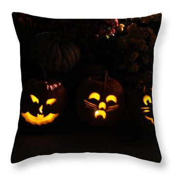 Glowing Pumpkins Throw Pillow by Suzanne Gaff