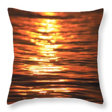 Glowing Ripples Throw Pillow by Karol Livote