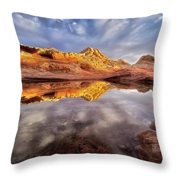 Glowing Rock Formations Throw Pillow by Nicki Frates