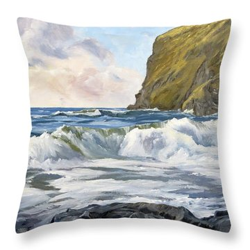 Throw Pillow featuring the painting Glowing Sky At Pencannow Point by Lawrence Dyer