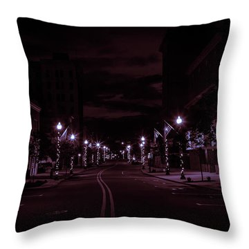 Glowing Streets Downtown Throw Pillow