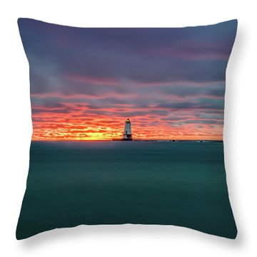 Glowing Sunset On Lake With Lighthouse Throw Pillow