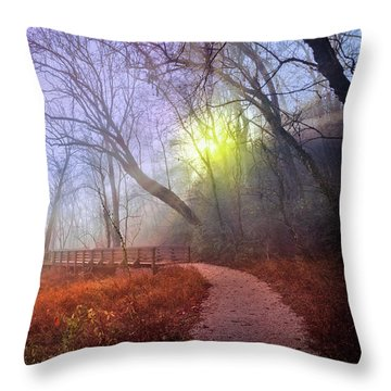 Throw Pillow featuring the photograph Glowing Through The Trees by Debra and Dave Vanderlaan