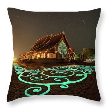 Glowing Wat Sirintorn Wararam Temple, Ubon Throw Pillow