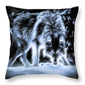 Glowing Wolf In The Gloom Throw Pillow