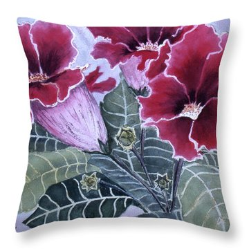 Throw Pillow featuring the painting Gloxinias by Karen Zuk Rosenblatt