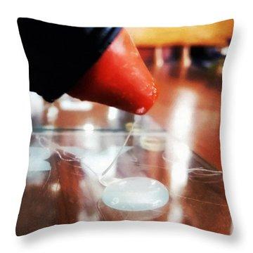 Glue Gun Action Throw Pillow