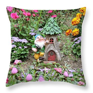 Gnome At Home Throw Pillow