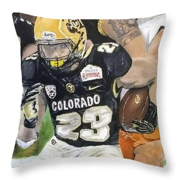 Throw Pillow featuring the painting Go Buffs by Kevin Daly